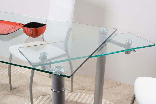 Удобный механизм раздвижного стеклянного стола