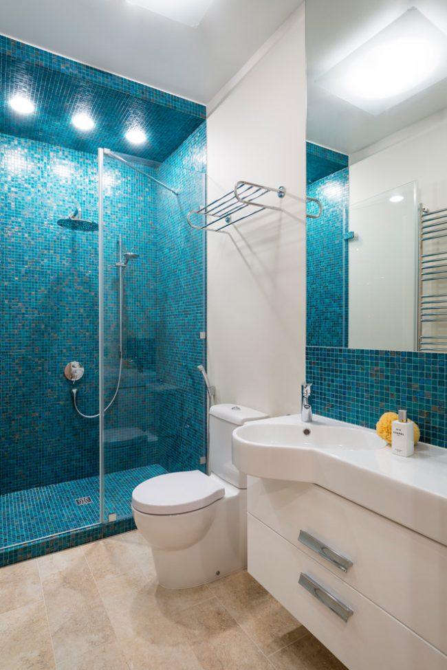 Голубой цвет прекрасно подойдет для интерьера ванной комнаты