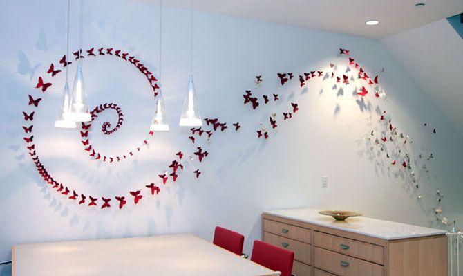 Бабочки на Стене: Фото 70 Идей и Декор Своими Руками 2017