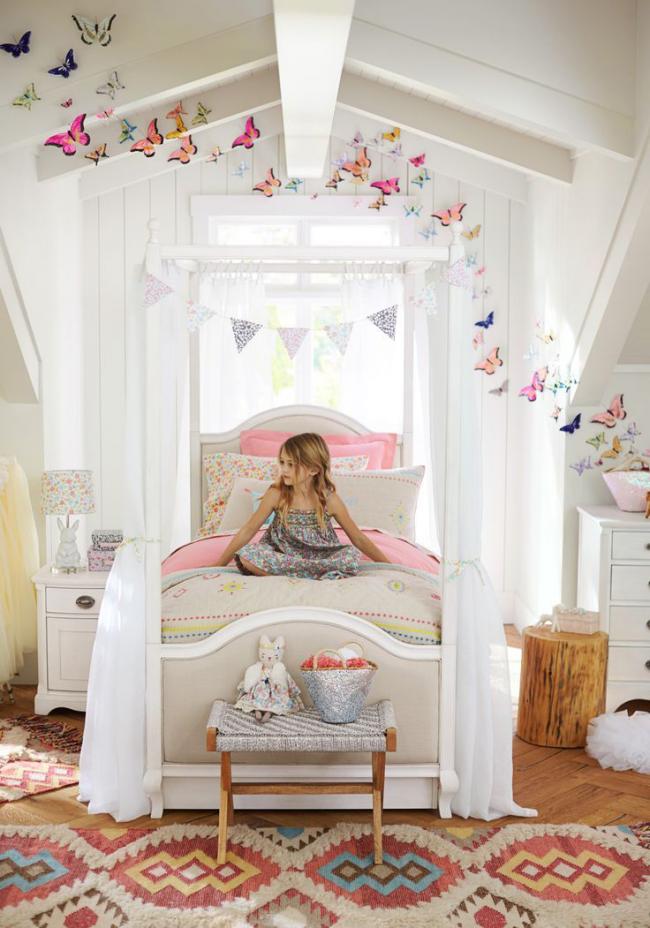 Бабочки на стене: фото оригинальной идеи украшения детской комнаты