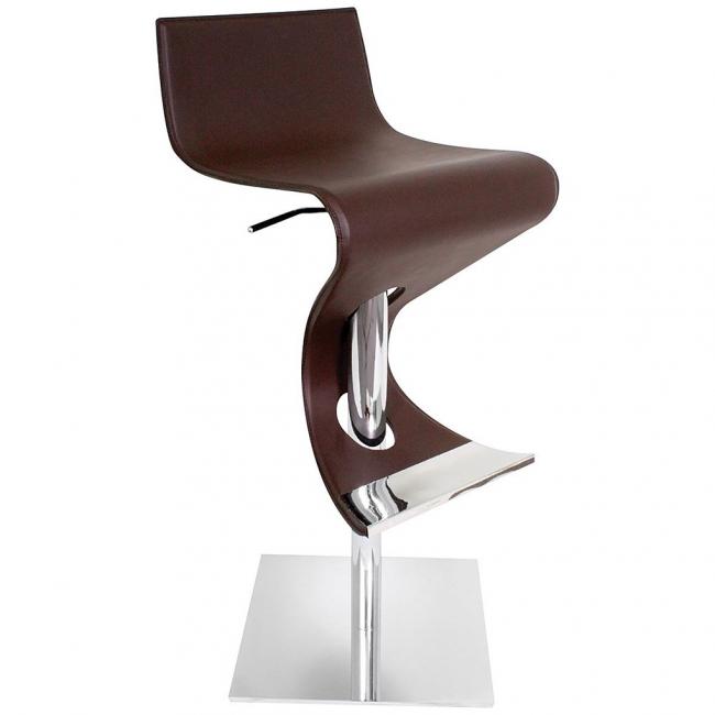 Кожаный барный стул с короткой спинкой в стиле модерн