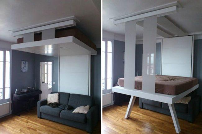 Кровать под потолок - незаменимая вещь в смарт-квартирах, когда вопрос экономии пространства особенно актуален