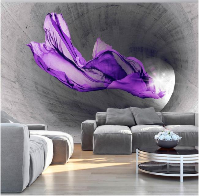 Зрительное увеличение комнаты с помощью 3D панно на стене