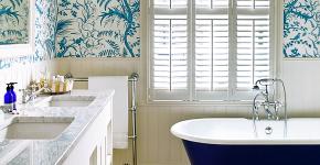 Синяя ванная комната: 75 элегантных интерьеров в холодных тонах фото