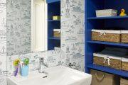 Фото 32 Синяя ванная комната: 75 элегантных интерьеров в холодных тонах