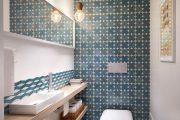 Фото 33 Синяя ванная комната: 75 элегантных интерьеров в холодных тонах