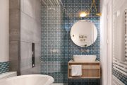 Фото 16 Синяя ванная комната: 75 элегантных интерьеров в холодных тонах