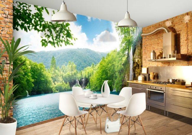 Малогабаритная кухня с отделкой стены 3D обоями, помогающими зрительно увеличить площадь помещения