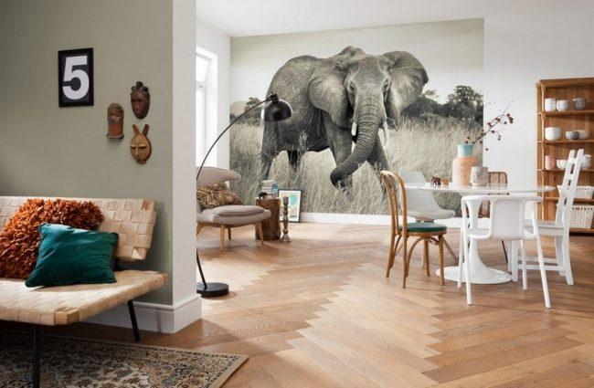 Черно-белые 3D обои в просторной светлой гостиной