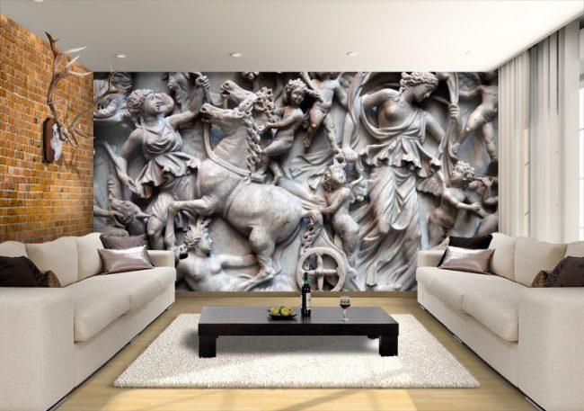 Фотообои античных мотивов в гостиной комнате