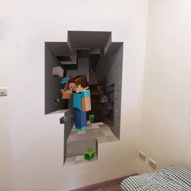 Стереоскопические фотообои с изображением одной из популярных игр в кругах нынешней молодежи - Minecraft