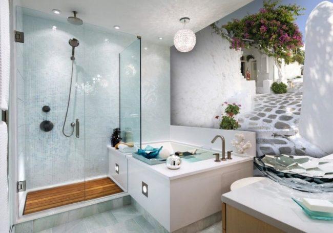 Применение 3D фотообоев в отделке стен современной ванной комнаты