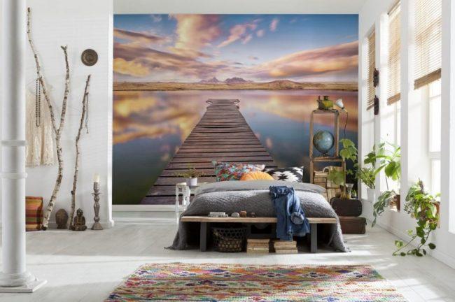 Спокойная умиротворяющая обстановка в спальне, благодаря 3D фотообоям