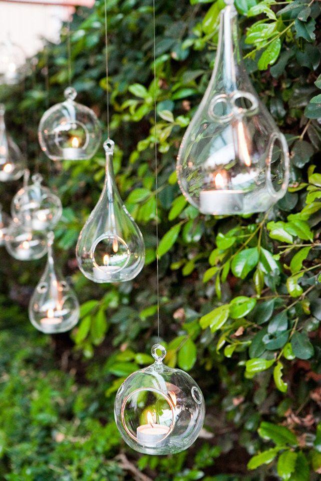 Подвесные стеклянные колбы с отверстиями для украшения сада свечами