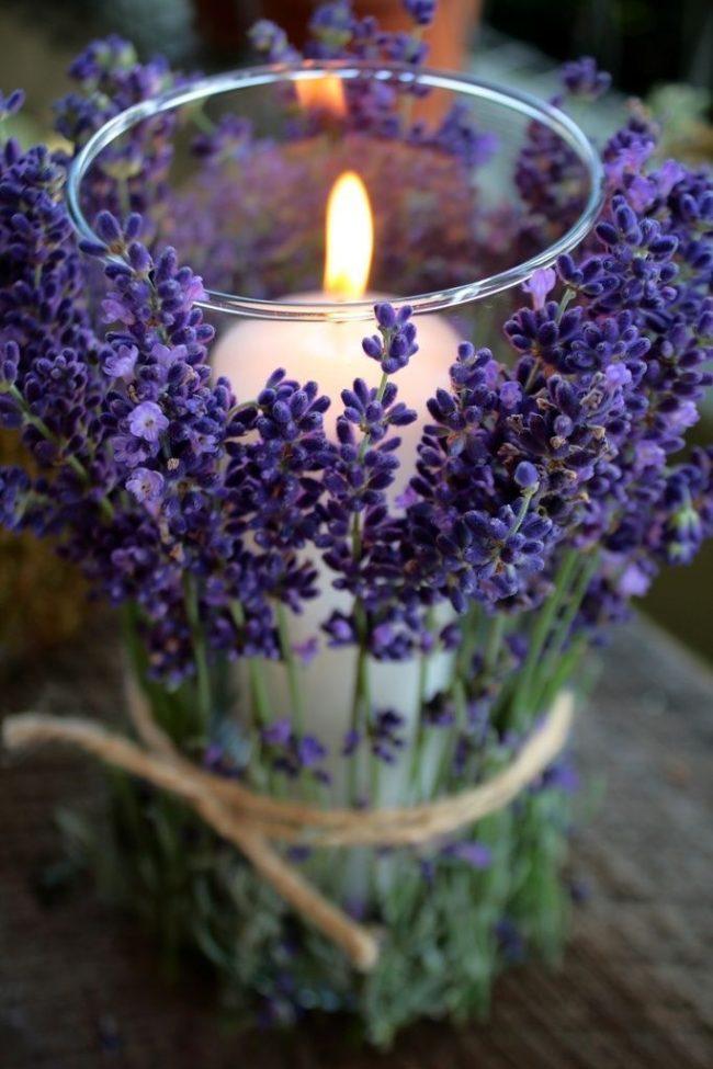 Декор обыкновенного стакана со свечой в стиле романтического прованса