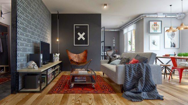 Современный интерьер с применением светлого ламината, в просторной квартире-студии