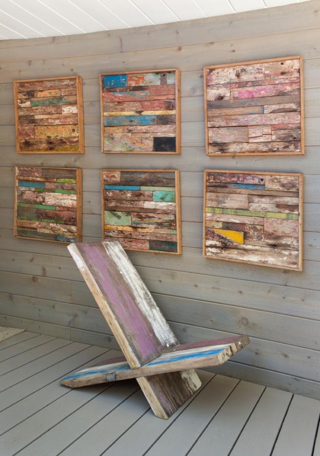 Непривычные картины из деревянных брусков