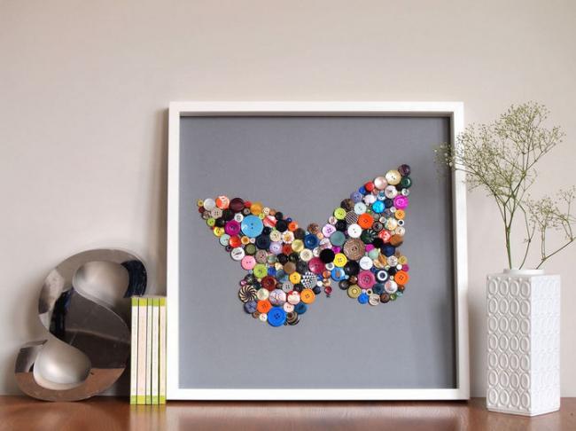 Картины для интерьера своими руками: необычная картинка, созданная с помощью разнообразных пуговиц