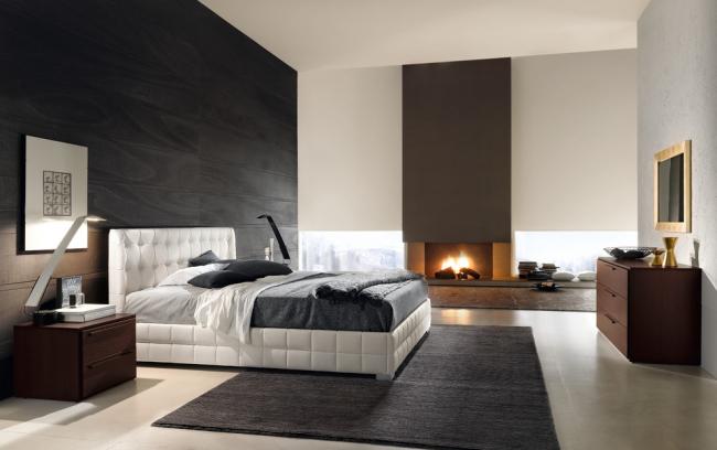 Черный ламинат на стене спальни в стиле модерн