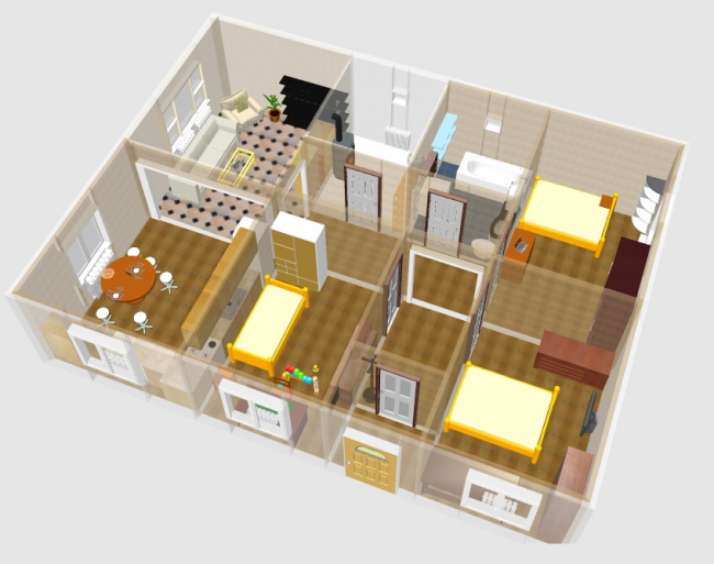 План типового одноэтажного дома на три спальни