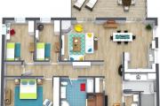 Фото 44 Проект одноэтажного дома с тремя спальнями: преимущества и возможные варианты постройки