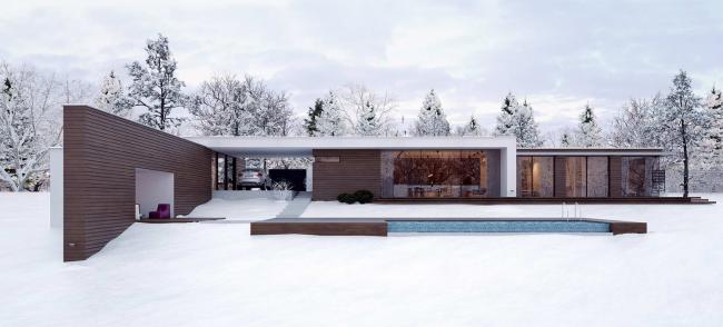 Проект стильного одноэтажного дома с тремя спальнями в стиле минимализм
