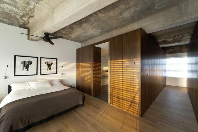 Спальня одноэтажного дома в стиле лофт