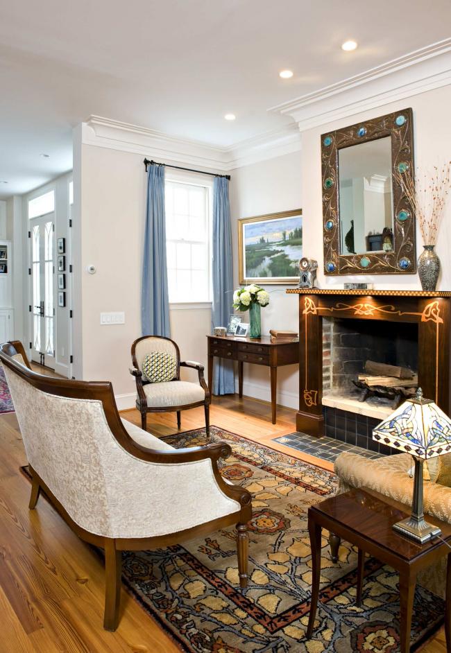 Дизайнерская кованная рама для зеркала с медным покрытием и вставками из камня - стильный арт-объект в стиле модерн