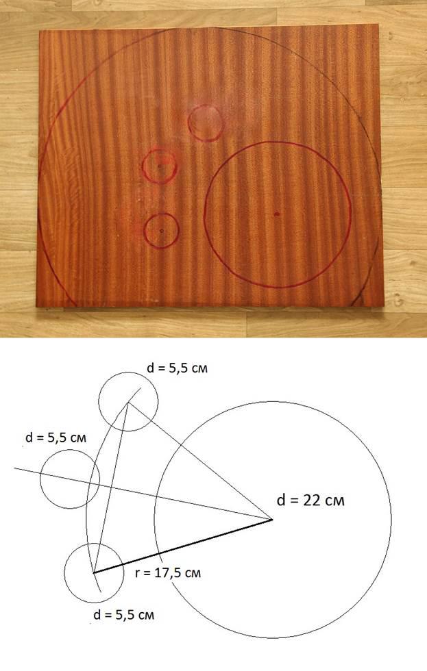 Задняя стенка –сплошная. Поэтому нам достаточно просто нарисовать усеченную окружность. В нижнем углу рисуем круг, который станет входом в домик, а сбоку рисуем несколько мелких кружков. На шаблоне продемонстрирована схема с размерами для типичного домика. Вы догадались, что отверстия напоминают кошачью лапку?