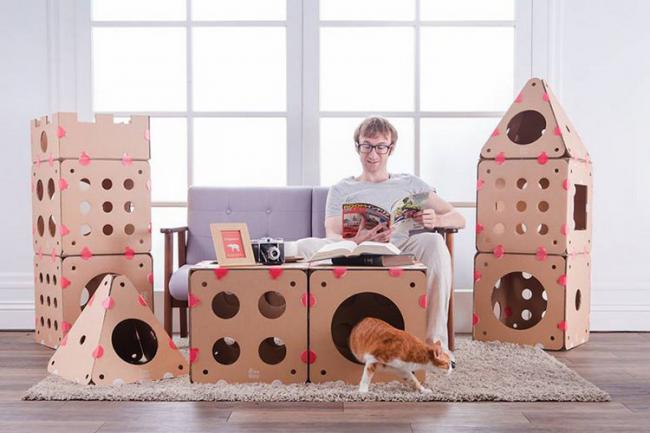 Дизайнерское решение – BoxKitty. Модульный апартамент для кошки из картона