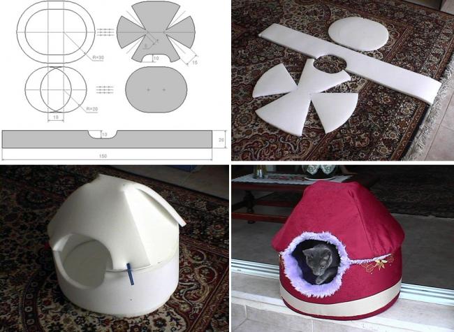 Тканевый лежак из поролона, искусственного меха и ткани. На фото шаблон, способ крепления и вариант декорирования тканью