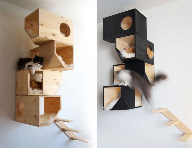 Деревянные подвесные конструкции на несколько этажей подойдут для домов, где живет несколько кошек