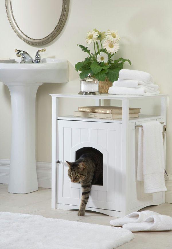 Тумба в ванной, обустроенная под обитель кота