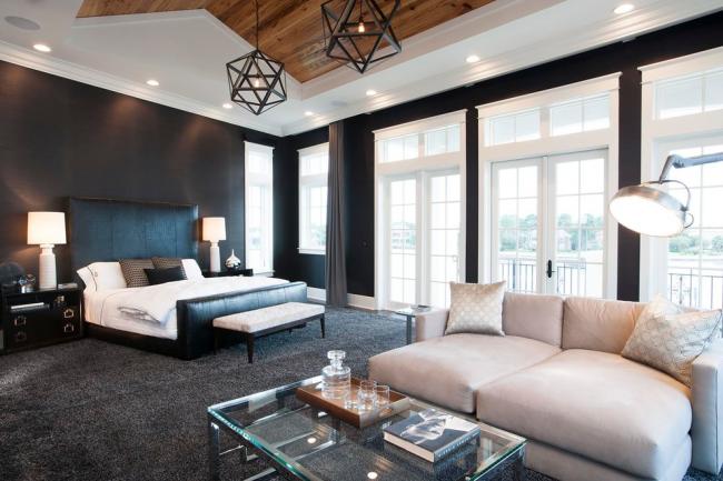 Объединенные гостиная и спальня, оформленные в темном цвете