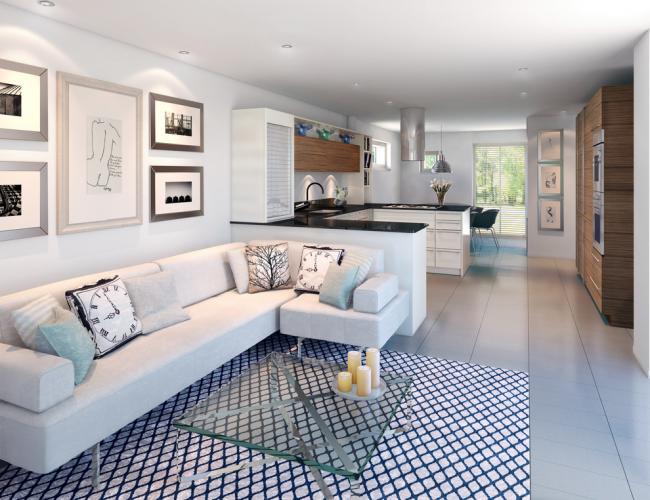 Угловой диван отлично подойдет для небольшой гостиной зоны