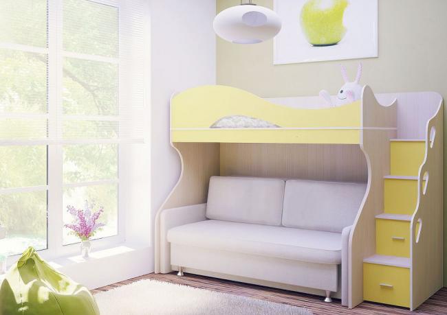 Двухъярусная кровать-чердак с диваном светлых оттенков