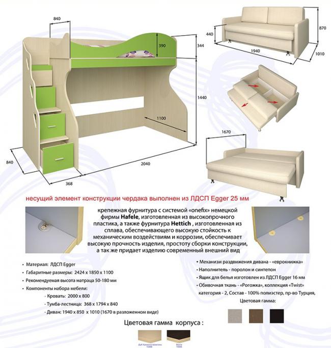 Техническое описание типичной двухъярусной кровати с диваном внизу Bambini Divano 5. Производитель просит покупателей определиться с местом расположения лестницы, так как модель не является универсальной