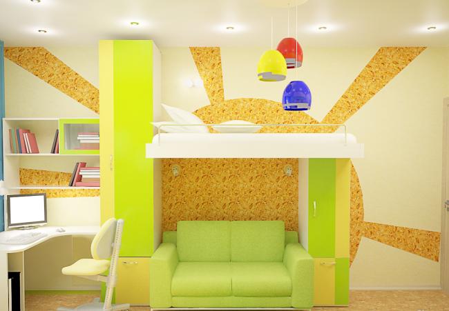 Двухъярусная кровать с диваном внизу в классическом сложенном состоянии
