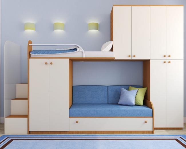 Двухъярусная кровать с диваном внизу и дополнительными шкафчиками подойдет для разумной организации ограниченного пространства