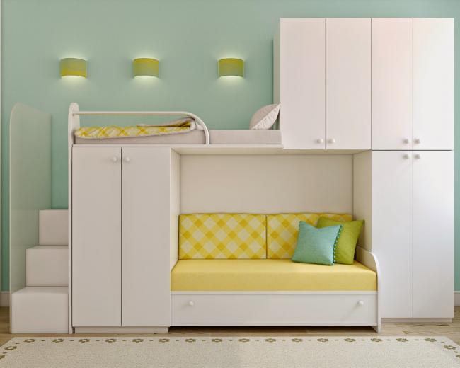 Двухъярусная кровать с диваном внизу как элемент стенки в детскую комнату