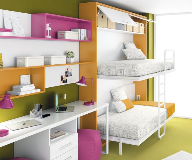 Диваны трансформеры в детскую комнату комплектуются дополнительными шкафчиками сверху конструкции