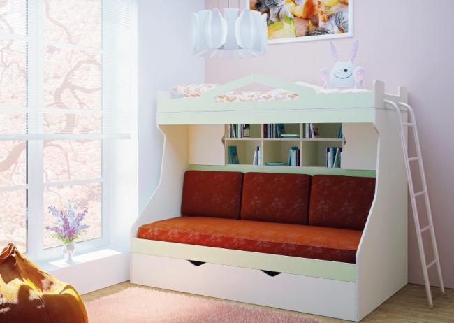 Классическая модель детской двухъярусной кровати с диваном внизу. Нижняя часть легко трансформируется в двуспальное место, а лестница на второй этаж располагается со стороны подножья кровати