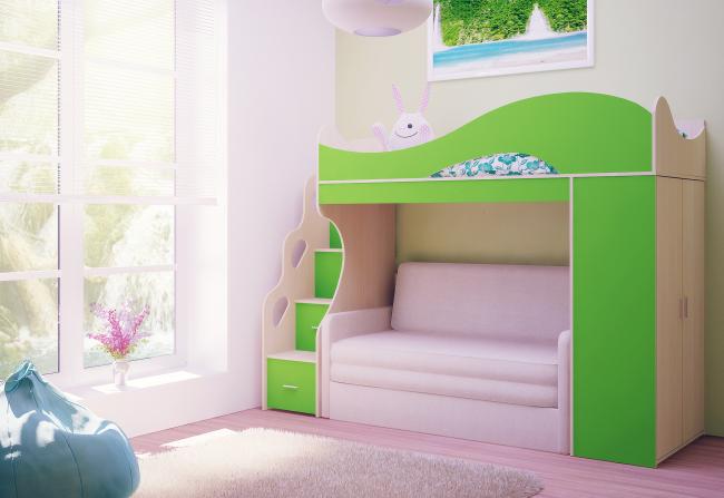 Нередко двухъярусная кровать с диваном внизу имеет дополнительные опции в виде встроенного шкафа или полок для хранения книг