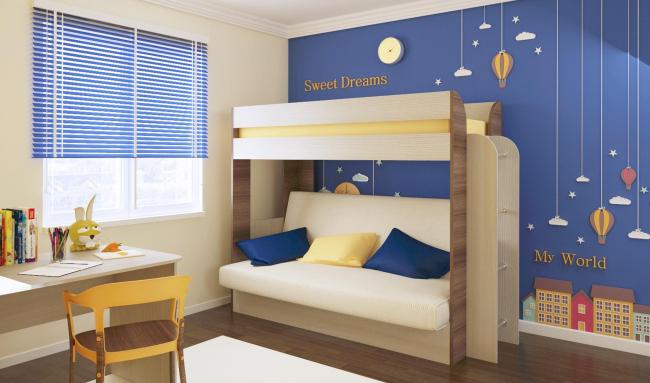 Дизайнеры создали практические модели двухъярусных кроватей с диваном внизу, которые впишутся в интерьер детской комнаты