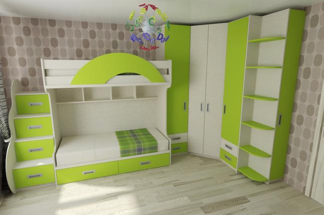 Современные модели двухъярусных кроватей имеют защитные бортики для детей