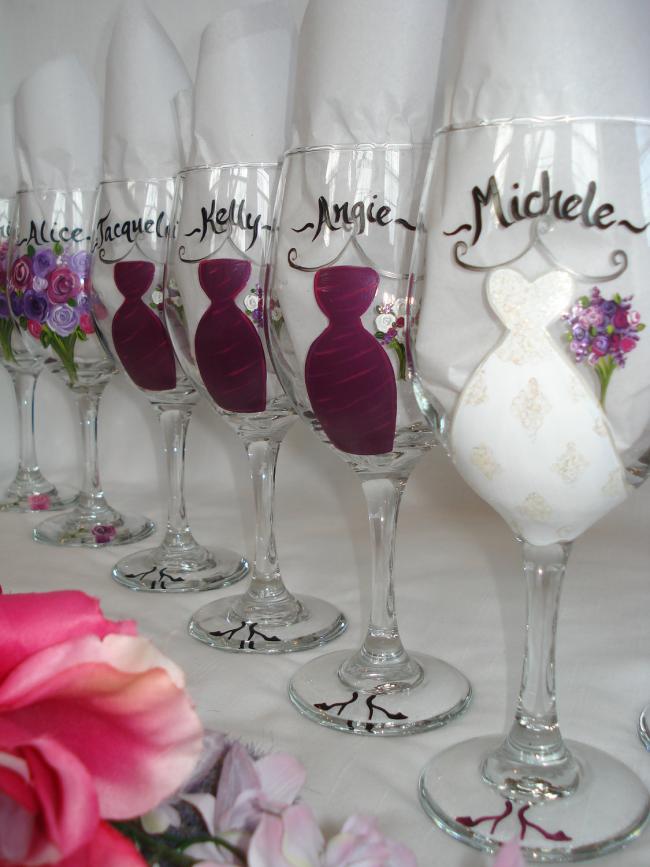 Фужеры для шампанского с росписью ручной работы для девичника