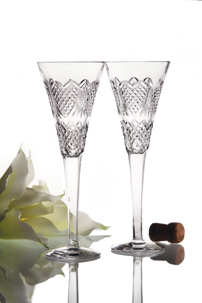 Очень красивые хрустальные фужеры для шампанского необычной формы