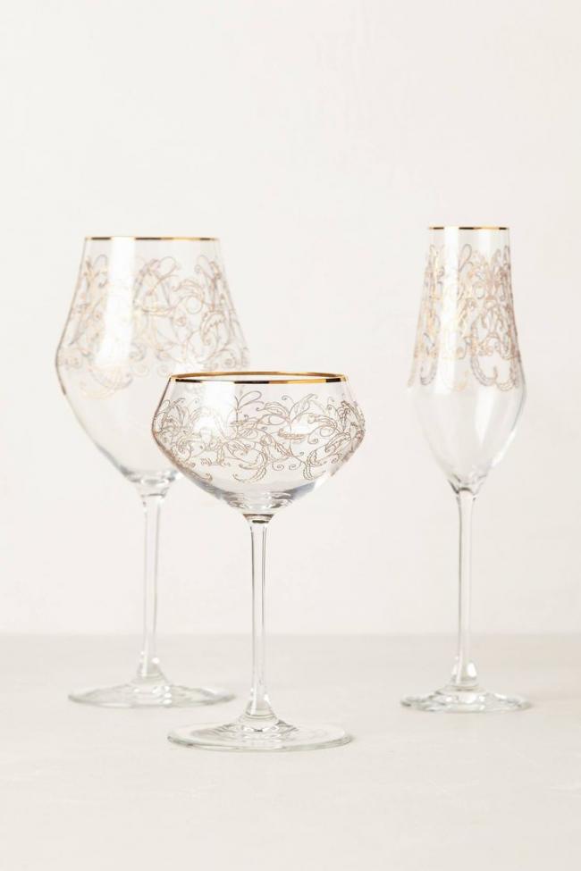 Фужеры для шампанского из богемского стекла с нежной росписью