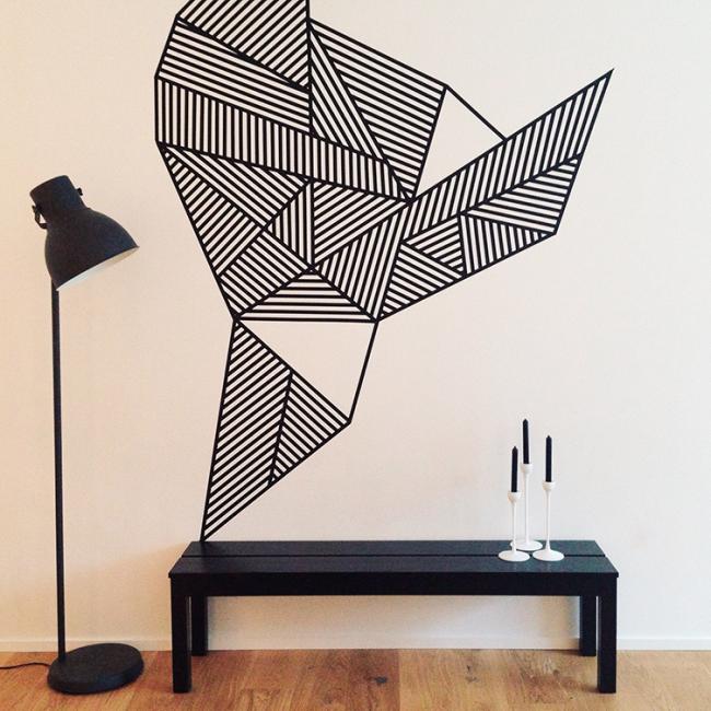 Необычная геометрическая абстракция выполненная в графической технике