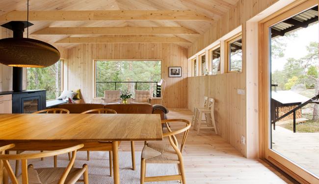 Гармоничное сочетание отделки комнаты имитацией бруса и деревянной мебели
